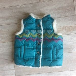 NWOT Old Navy Aqua Puffy Vest Size 18-24 months